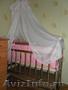 кроватка-маятник+противоударники и балдохин для девочки